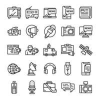 conjunto de ícones de mídia de massa com estilo de arte de linha.