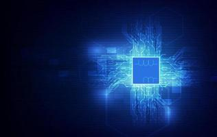 placa de circuito de fundo de processador de chip de tecnologia abstrata e código html, vetor de fundo de tecnologia azul.
