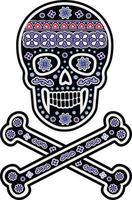 padrão de caveira de açúcar mexicano, design vintage para camisetas vetor