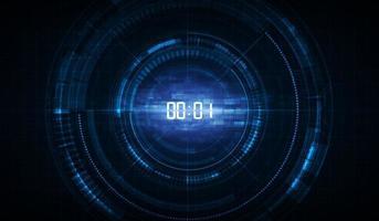 abstrato base de tecnologia futurista com conceito de cronômetro digital e contagem regressiva, vetor transparente