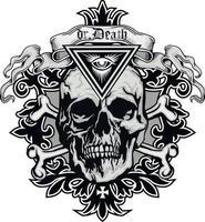 letreiro gótico com caveira e olho da providência, camisetas com design vintage grunge vetor