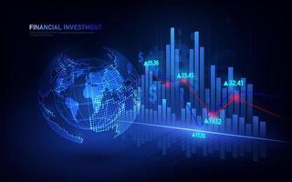 mercado de ações ou gráfico de negociação forex no conceito gráfico adequado para investimento financeiro ou ideia de negócio de tendências econômicas e todo o design de trabalho de arte. vetor