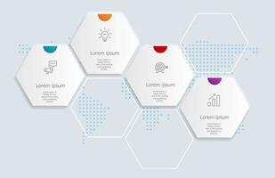Resumo hexágono infográficos 4 etapas para negócios e apresentação