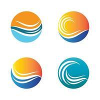 Conjunto de imagens do logotipo da praia do pôr do sol vetor