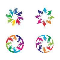 conjunto de imagens de logotipo de mão vetor