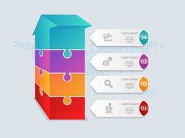 seta abstrata isométrica linha do tempo infográficos 4 etapas com mapa mundial para negócios e apresentação