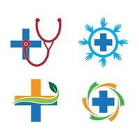 conjunto de imagens de logotipo de cuidados médicos vetor