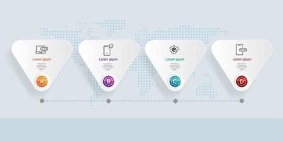 4 etapas de infográficos de linha do tempo horizontal abstrato com mapa mundial para negócios e apresentação