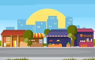 barraca de loja de frutas à beira da estrada com mercearia em ilustração da cidade vetor