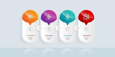 infográficos de linha do tempo horizontal abstratos 4 etapas para negócios e apresentação vetor