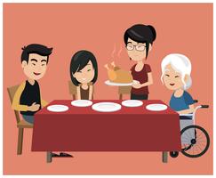 Família na mesa de jantar vetor