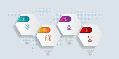 Resumo de infográficos de linha do tempo hexágono horizontal 4 etapas com mapa mundial para negócios e apresentação