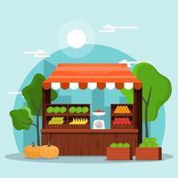 barraca de loja de vegetais de frutas frescas com mercearia em ilustração de mercado vetor
