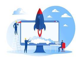 projeto de negócios start up pessoas lançam foguetes de nave espacial, produtos de desenvolvimento, empresa de marketing, ideia criativa e inovação novo conceito de vetor de símbolo original