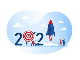 2021 feliz ano novo, pessoas lançam projeto de negócio de foguete de nave espacial start up cocept ilustrador vetorial vetor