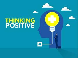 empresário de pé ideia com lâmpada na cabeça humana pensamento positivo conceito de negócio novo conceito de criatividade de ideia em vetor.