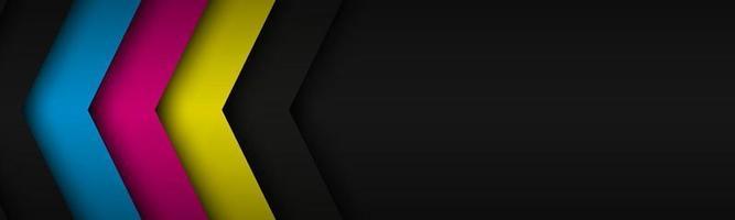Cabeçalho moderno preto com camadas sobrepostas com cores cmyk. banner para o seu negócio. fundo widescreen abstrato do vetor