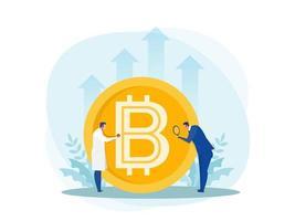 médico segurando o estetoscópio para verificação financeira de bitcoin grande. conceito de negócios vetor
