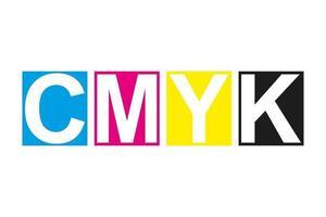 ícone de impressão cmyk. quatro quadrados no símbolo de cores cmyk. ciano, magenta, amarelo, listras pretas, chave isoladas no fundo branco vetor