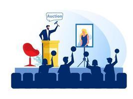 conceito de negócio de leilão, vendendo pinturas de retratos. ilustração em vetor modelo de design de página de destino do site.