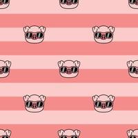 porco fofo com padrão sem emenda de desenho de óculos de sol, ilustração vetorial