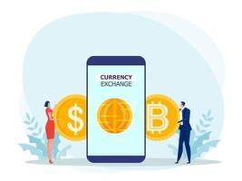 pessoas usando um smartphone para trocar dólares por bitcoin. flat design.bitcoins, altcoins, finanças, mercado de dinheiro digital, criptomoeda, ilustração do vetor de moedas.