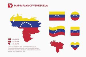 mapa e bandeira da venezuela vetor