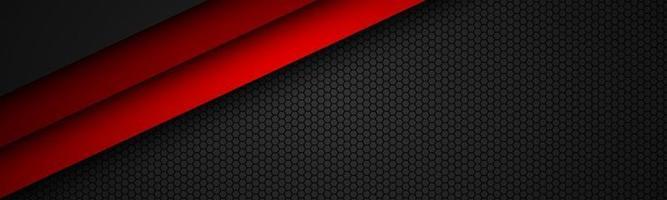 cabeçalho de vetor de linha vermelha abstact com malha octogonal. sobreponha camadas no banner preto com padrão hexagonal. fundo moderno do vetor