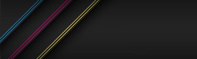 Cabeçalho de material moderno preto com linhas diagonais em cores cmyk. banner para o seu negócio. fundo widescreen abstrato do vetor