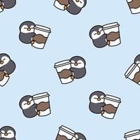 pinguim fofo adora café desenho padrão sem emenda, ilustração vetorial vetor