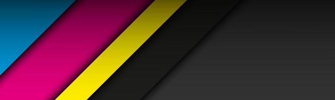 Cabeçalho de material moderno preto com camadas sobrepostas em cores cmyk. banner para o seu negócio. fundo widescreen abstrato do vetor
