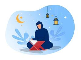 mulher está lendo al quran na noite de Ramadã no ilustrador vetorial de fundo azul.