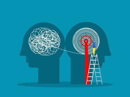 a mentalidade oposta caos e ordem no conceito de pensamentos. ilustração vetorial vetor