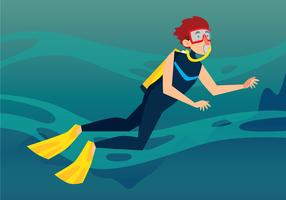 Ilustração de mergulhador vetor