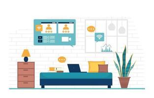 trabalhar em casa computador internet negócio online ilustração freelancer vetor