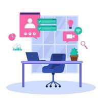 trabalhar em casa computador internet negócio online ilustração freelancer