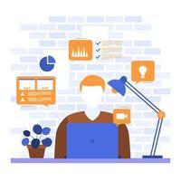as pessoas trabalham em casa, internet, negócios online, ilustração freelancer vetor
