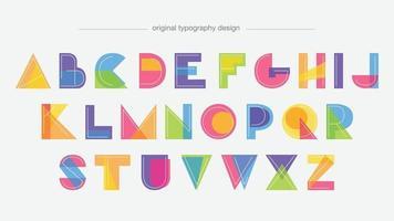desenhos animados geométricos coloridos moldam letras isoladas vetor
