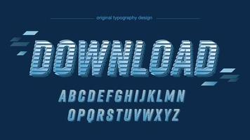 tipografia moderna azul futurista 3d isolada vetor