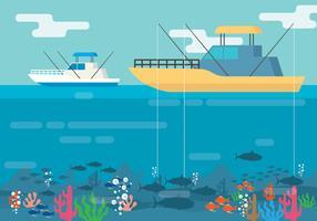Ilustração de pesca em alto mar vetor