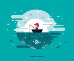 Vetor de pesca em alto mar