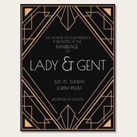 Vetor de convite de casamento Art Deco clássico