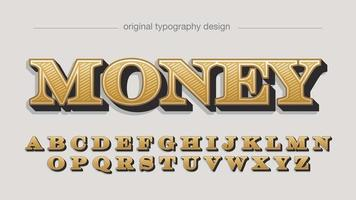 Fonte em negrito com serifa dourada elegante 3d isolada vetor