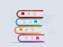 pilha de livros infográficos modelo 4 etapas com mapa mundial para negócios e apresentação