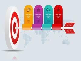 alvo de dardos abstrato com setas infográficos 4 etapas com mapa mundial para negócios e apresentação