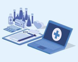 serviço de telemedicina para laptop com lista de verificação vetor