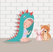 garotinho com brinquedos de pelúcia e fantasia vetor