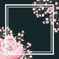 moldura com flores e botões de rosa rosa