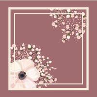moldura com flores brancas e botões pintando desenho vetorial