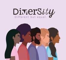 conceito de diversidade com pessoas inter-raciais vetor